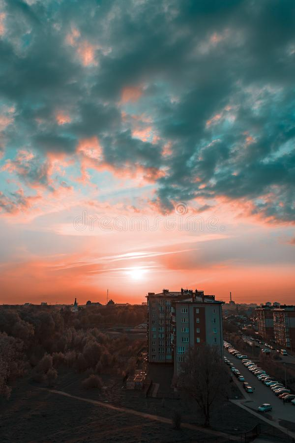 Photography of Grey Buildings during Sunset royalty free stock image