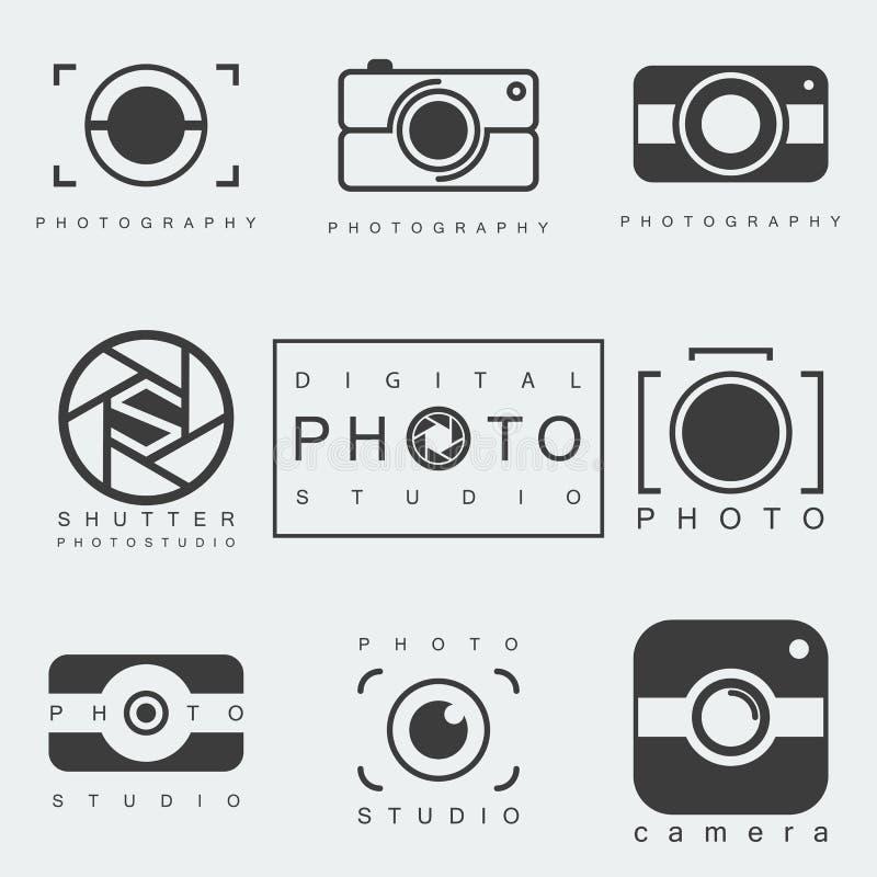Photography icon set. Black photography icon set isolated on white background. photo studio emblem. camera pictogram or sign. vector illustration royalty free illustration