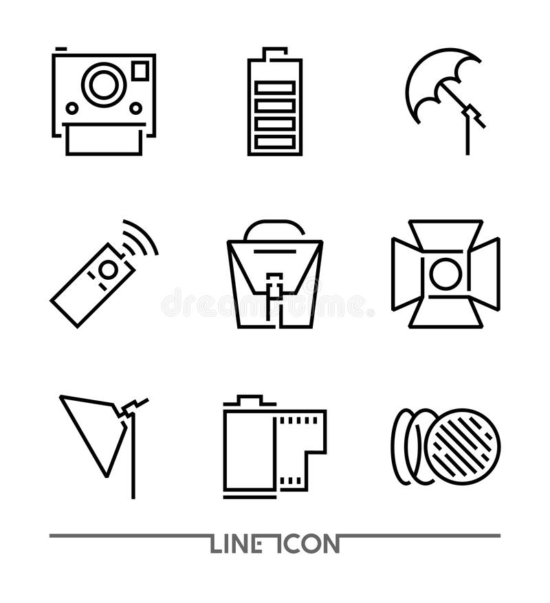 Photography icon set; Multimedia flat thin line Icons vector. Camera Accessories royalty free illustration