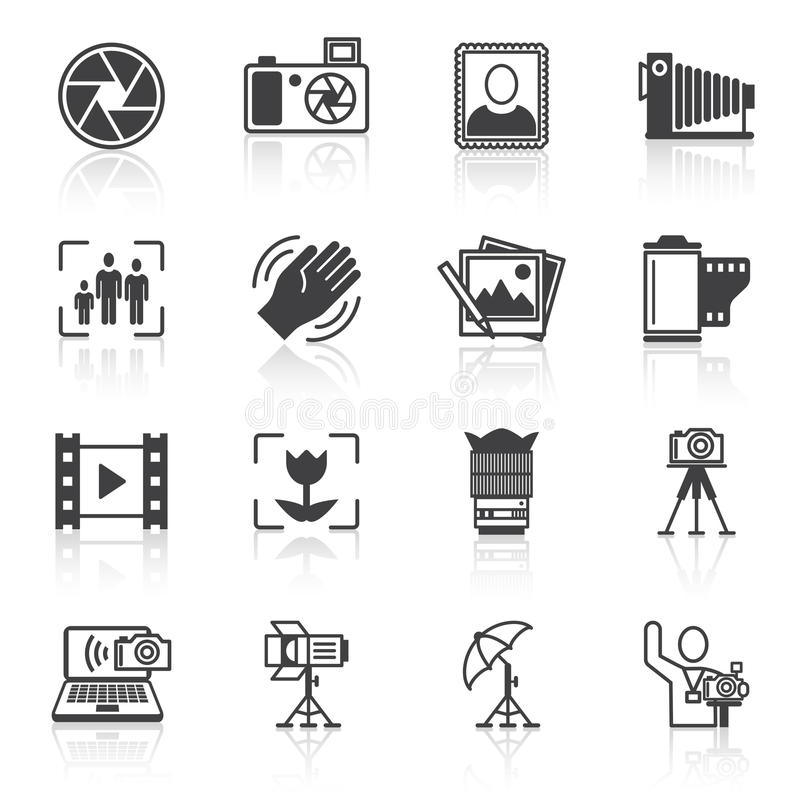 Photography icons black. Photography equipment camera photo icons black isolated vector illustration vector illustration