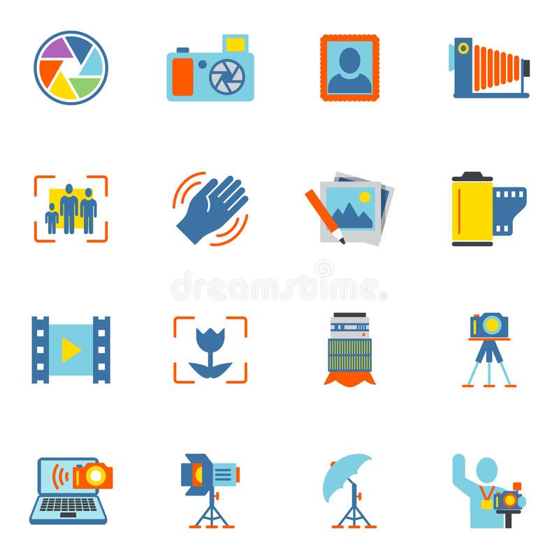 Photography Icons Flat. Photography equipment digital camera icons flat isolated vector illustration vector illustration