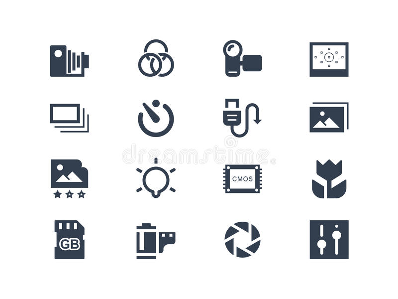 Photography icons. Isolated on white stock illustration