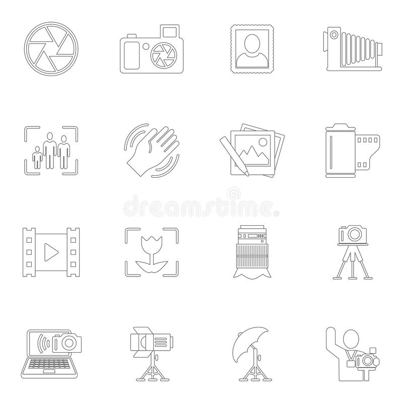 Photography icons outline. Photography equipment camera photo editing downloading icons outline isolated vector illustration stock illustration