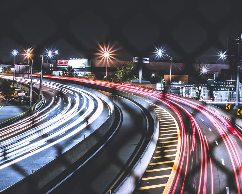 Photography of Light Streaks During Night Time stock image