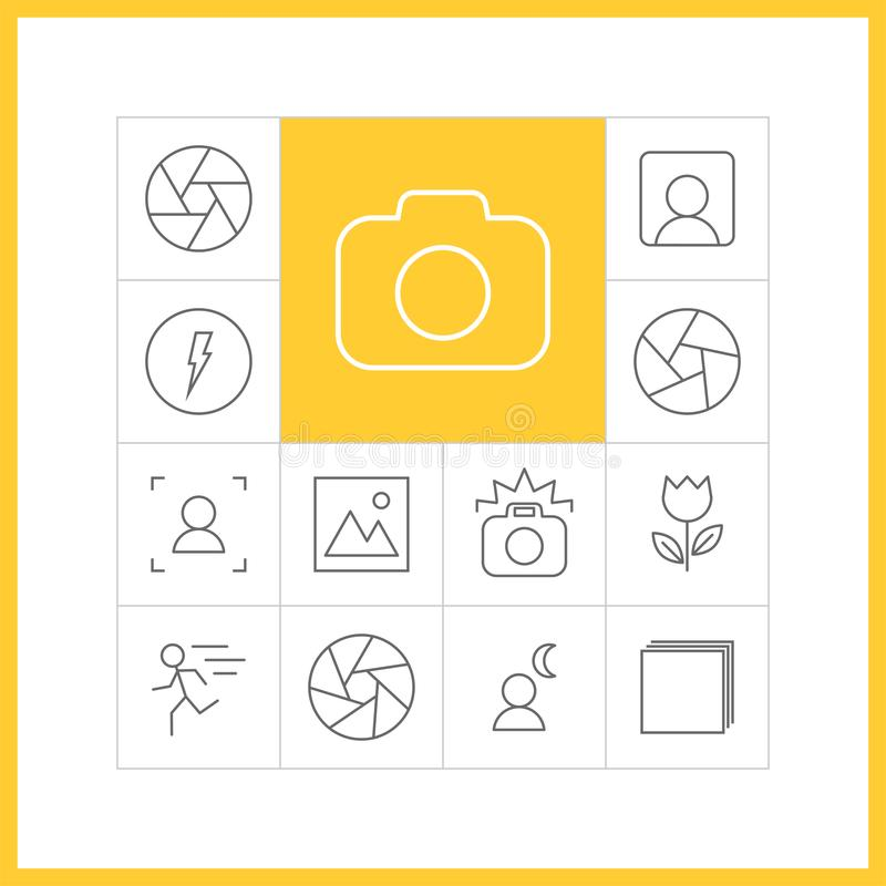 Photography linear icons vector illustration