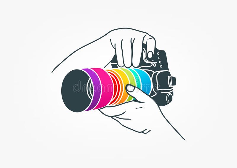 Photography logo, camera concept design. An illustration represent photography logo, camera concept design isolated in grey background vector illustration