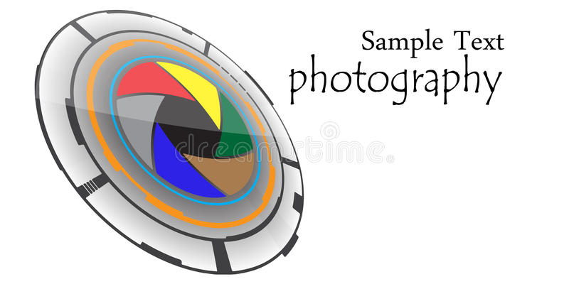 Photography logo. With circular design and colorful cameras lens illustration stock illustration