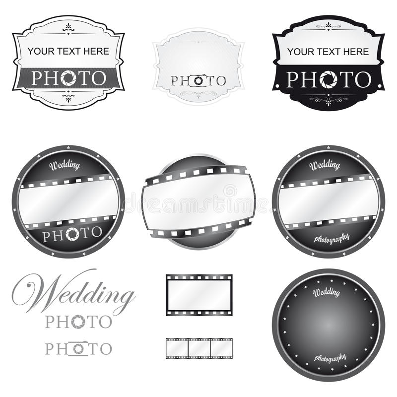 Photography Logo Set Vector. Photography Logo Set and wedding stock illustration