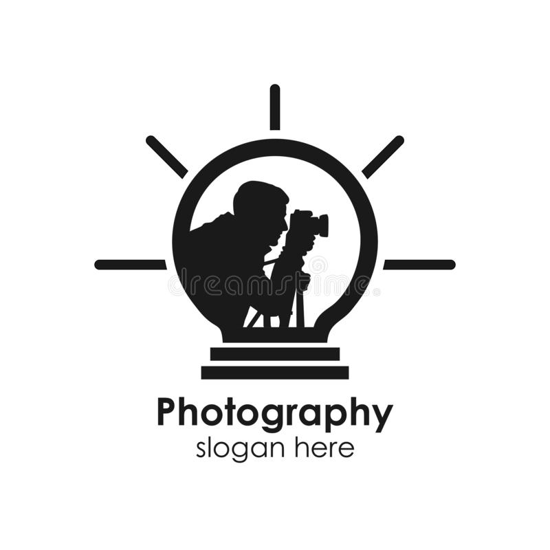 Photography logo template, design vector icon illustration. Camera, photographer, abstract, lens, studio, silhouette, vintage, business, symbol, capture stock illustration