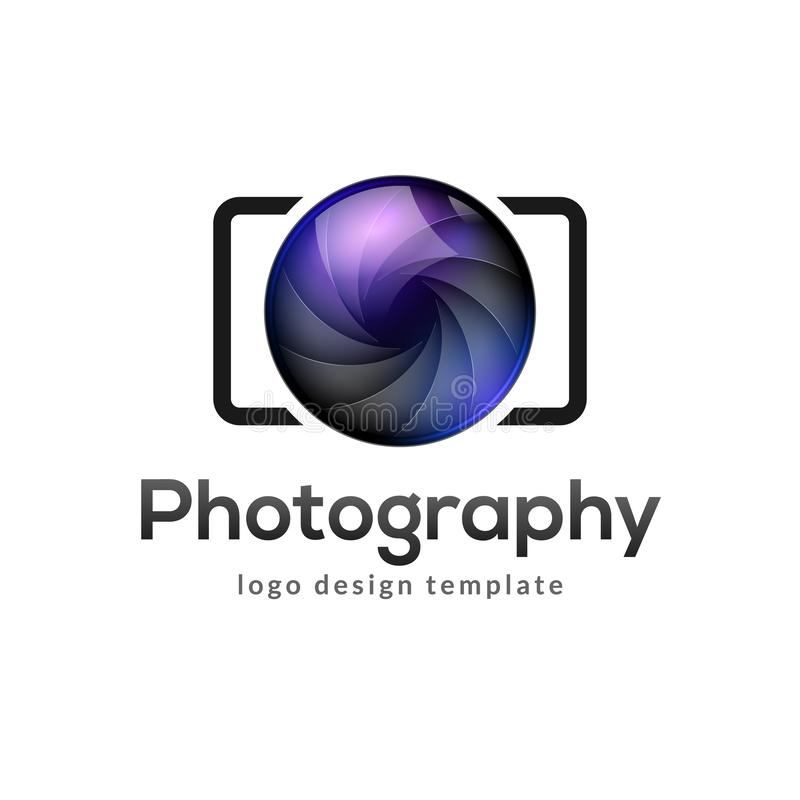 Photography logo template modern vector creative symbol. Shutter lens camera icon design element royalty free illustration