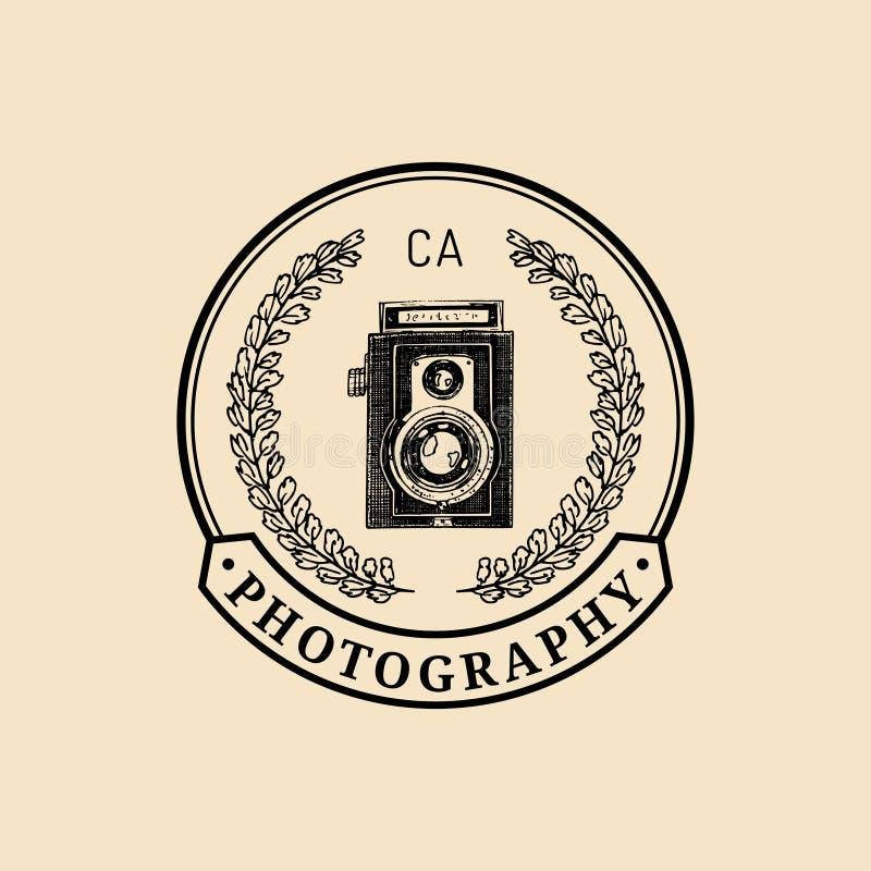 Photography logo. Vector vintage old camera label, badge, emblem. Hand sketched illustration for studio, store etc. royalty free illustration