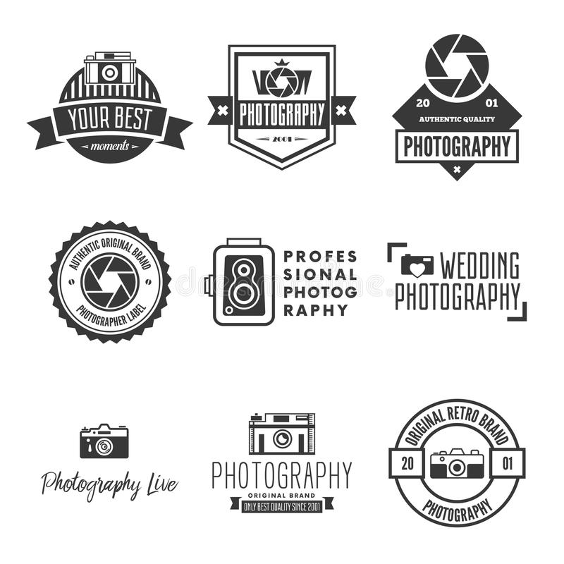 Photography Logos, Badges and Labels Design Elements set. Photo camera vintage style objects. royalty free illustration
