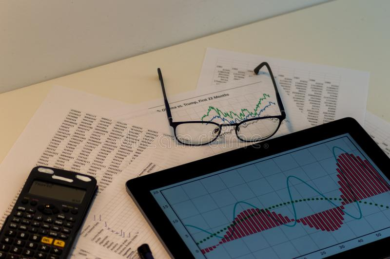 Photography of an office table with different objects stock photo