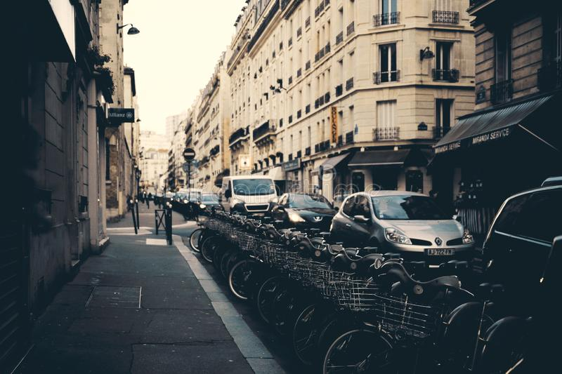 Photography of Parked Bicycles Near Buildings stock image