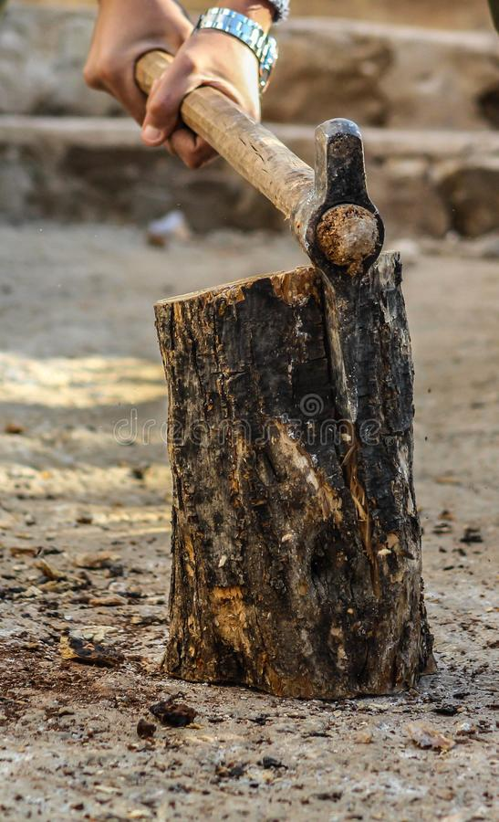 Photography of a Person Chopping Wood stock photos