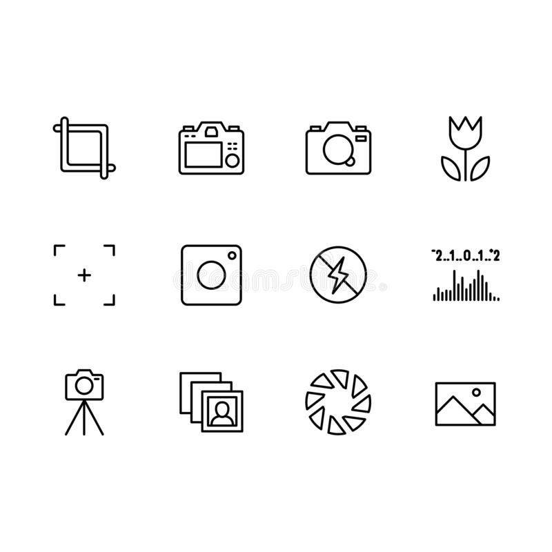 Photography and photo camera, video filming icon simple symbols set. Photo camera settings, shutter speed, aperture, iso. Flash, lens, balance, flower frame stock illustration