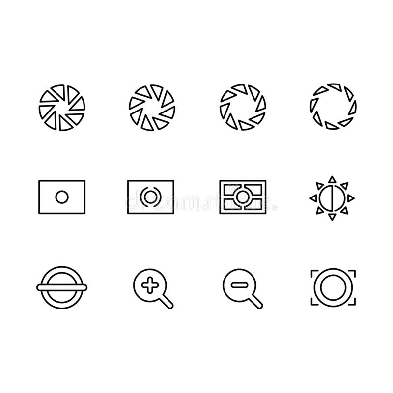 Photography and photo camera, video shooting icon simple symbols set. Photo camera settings, aperture diaphragm. Approach, distance and other options stock illustration