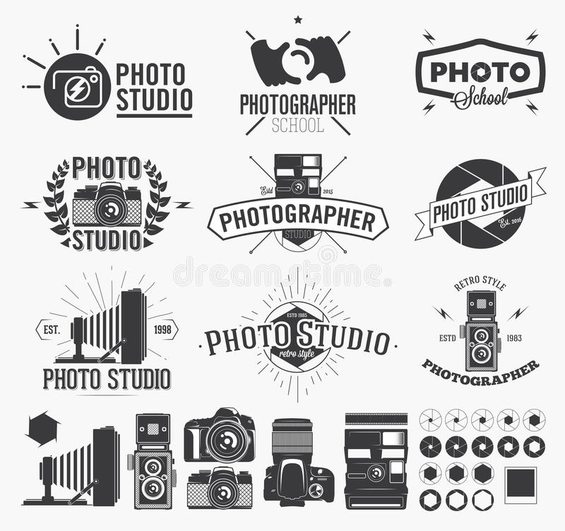 Photography and photo studio logo. Classic camera Labels royalty free illustration