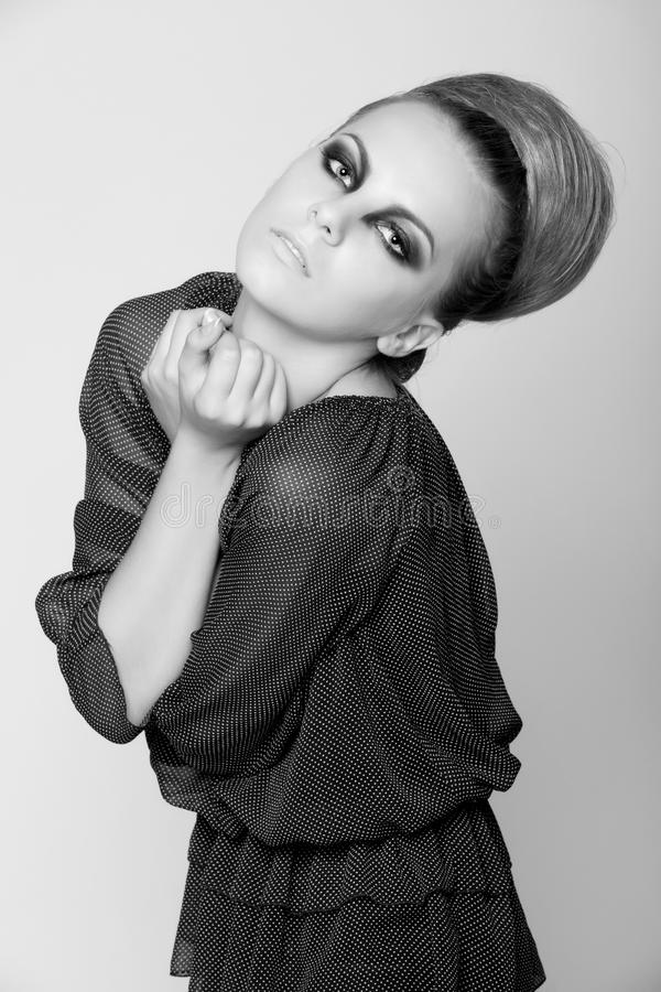 Photography from portfolio fashion model. Black and white photography from portfolio fashion model with bright makeup. studio shoot royalty free stock photos