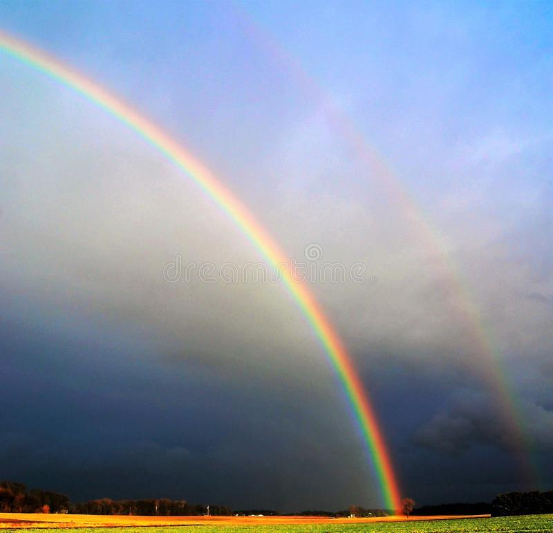 Photography of Rainbow During Cloudy Sky stock image