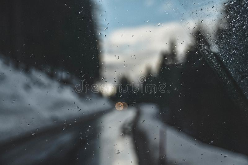 Photography of Raindrops on Glass royalty free stock photo