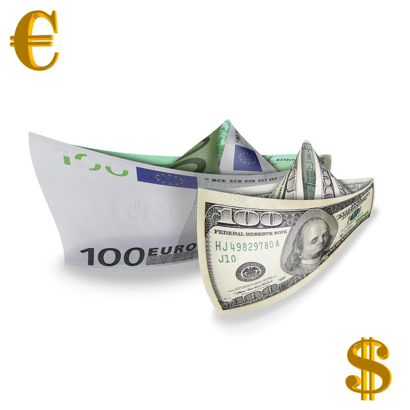 Exchange pair. Photography with scene of the dollar and euro in the manner of paper naves with gold symbols stock photography