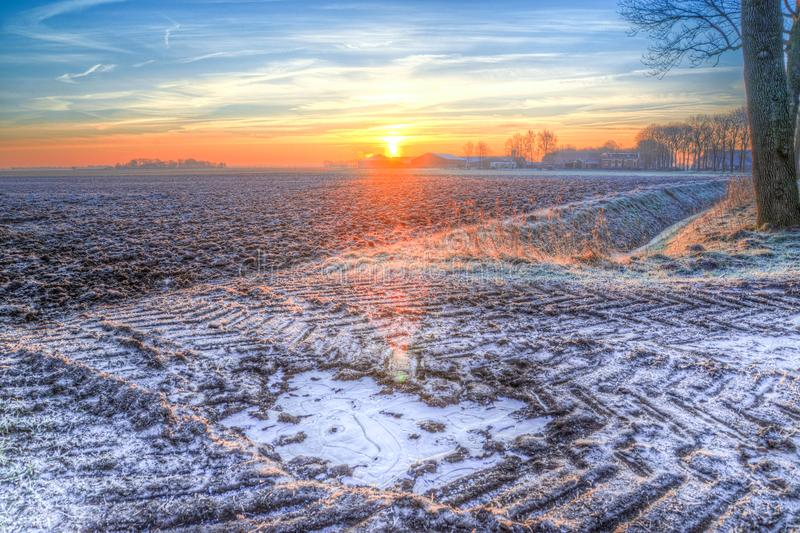 Photography of Snow during Sunset royalty free stock image
