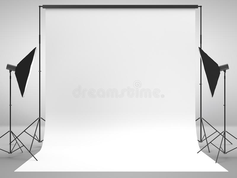 Photography studio. With a light set-up and backdrop