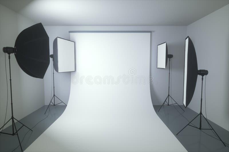 Photography Studio Seamless Background. 3D illustration. Studio photography with seamless black background stock illustration
