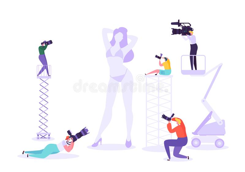 Photography studio with young female model posing and photographers at work. Characters with photo equipment vector illustration