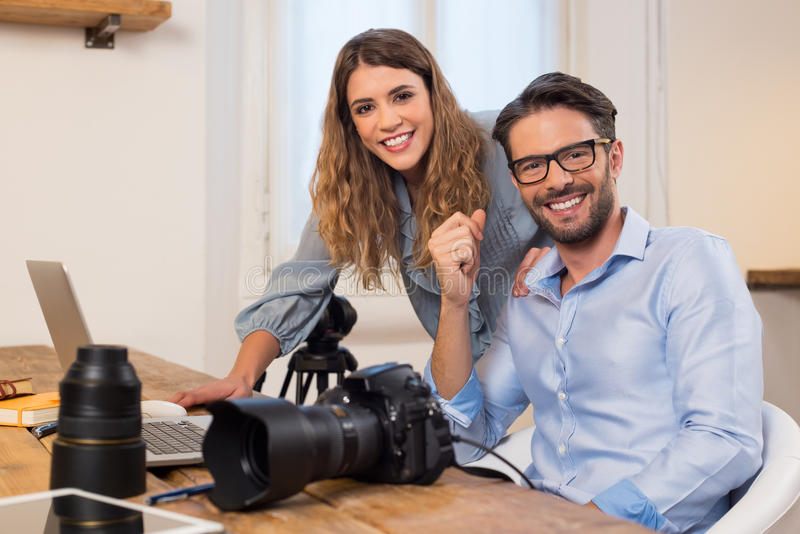 Photography team at work stock images