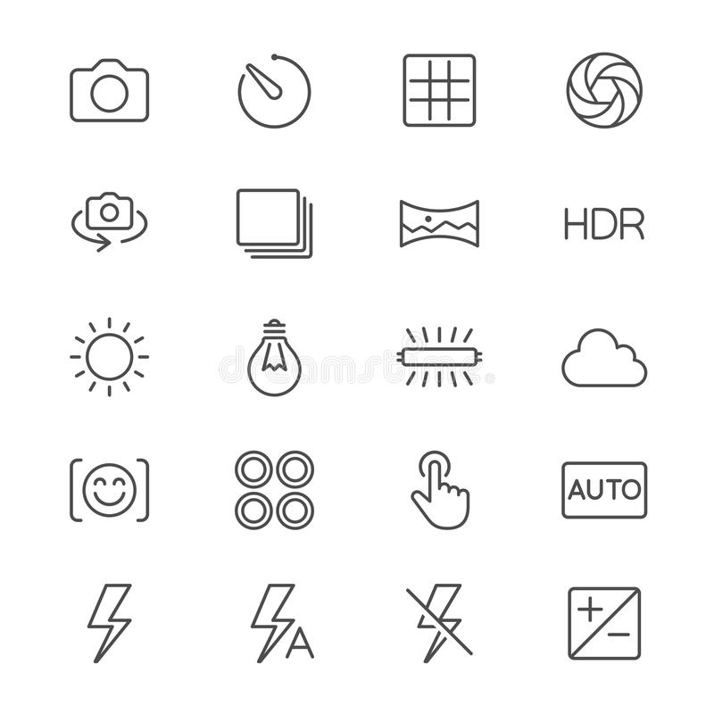 Photography thin icons. Simple, Clear and sharp. Easy to resize vector illustration