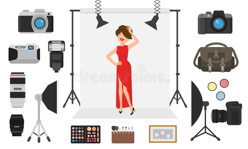 Photography vector photographing model character by professional photo camera and shooting photography woman or girl. Photography vector photographing model stock illustration