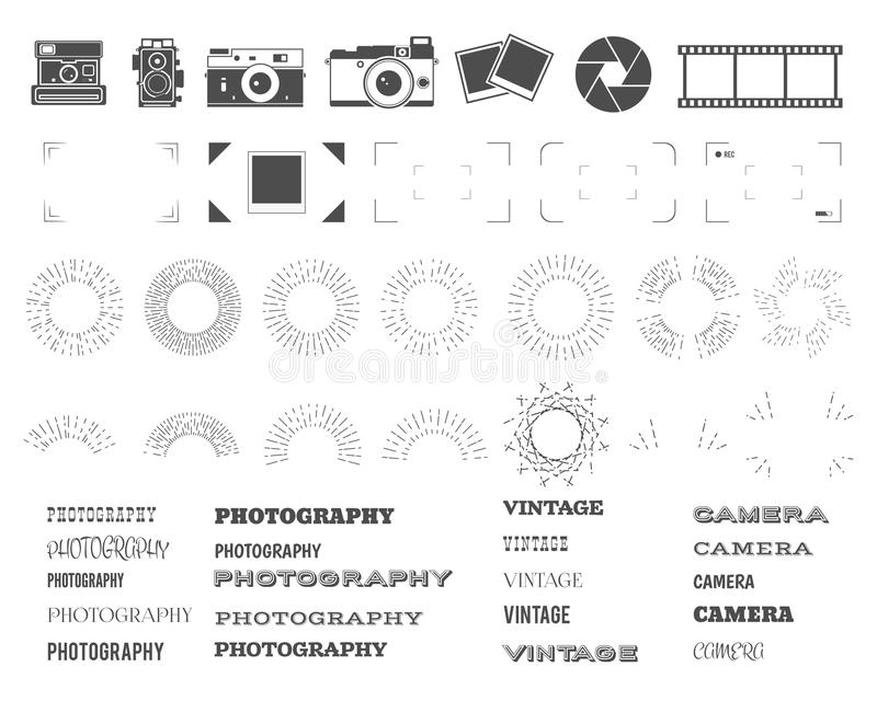 Photography vintage and retro symbols, ribbons stock illustration