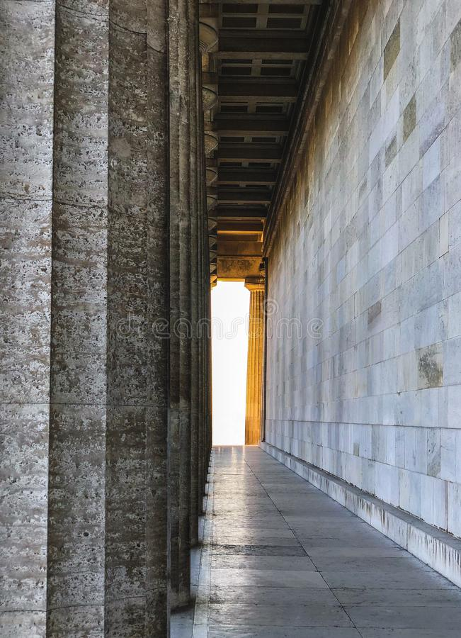 Photography of Walhalla with wonderful golden light in Regensburg, Germany stock photo