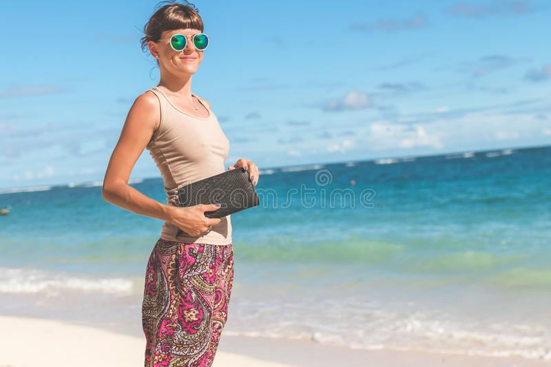 photography of a Woman On Beach stock image