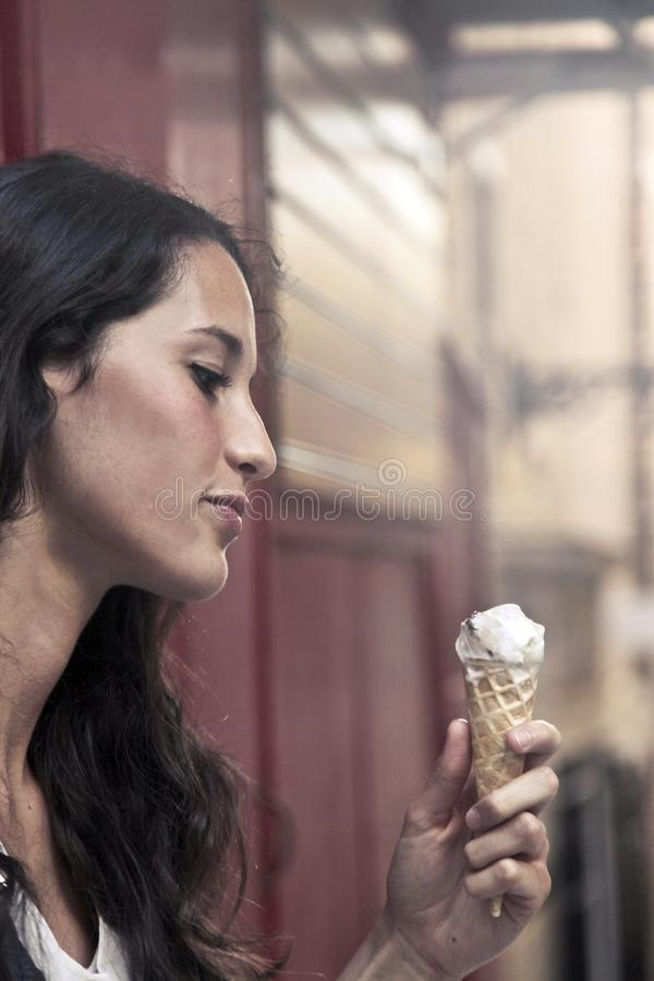 Photography of a Woman Holding Ice Cream royalty free stock photos