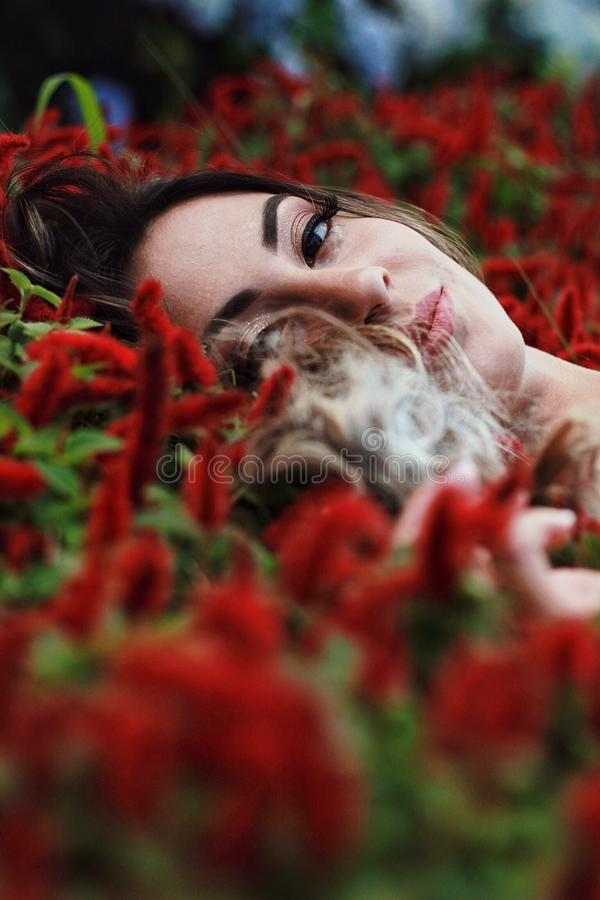 Photography of a Woman Lying on Flowers royalty free stock image