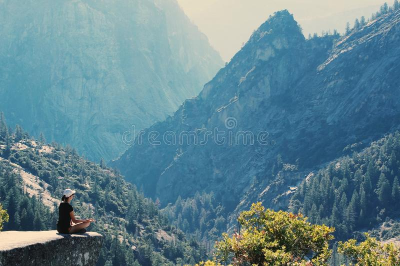 Photography of a Woman Meditating royalty free stock photography