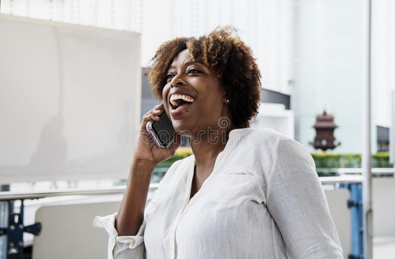 Photography of a Woman Talking on a Phone stock image