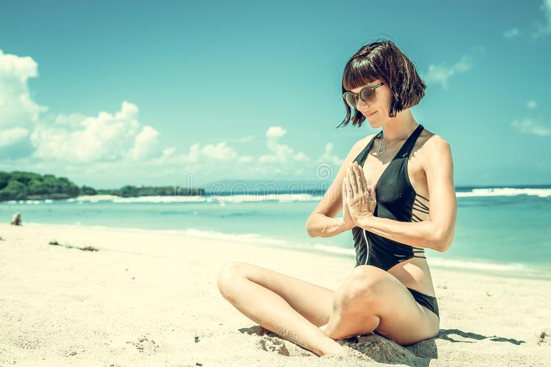 Photography of Woman Wearing Black Bikini stock image