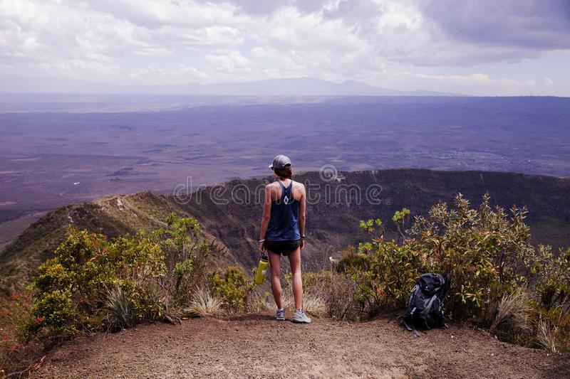 Photography of a Woman Wearing Blue Tank Top royalty free stock image
