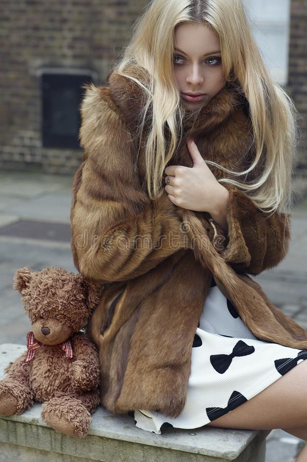 Photography of a Woman Wearing Fur Coat royalty free stock photography