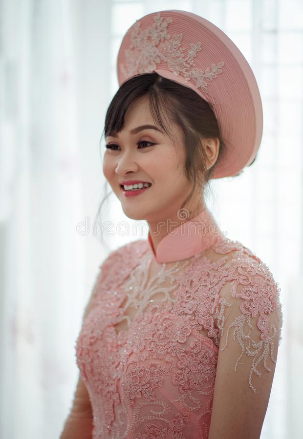 Photography of a Woman Wearing Pink Dress royalty free stock image