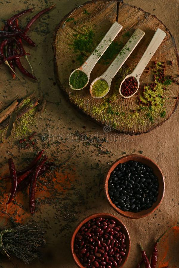 Photography of Wooden Spoons Filled with Spices stock photography