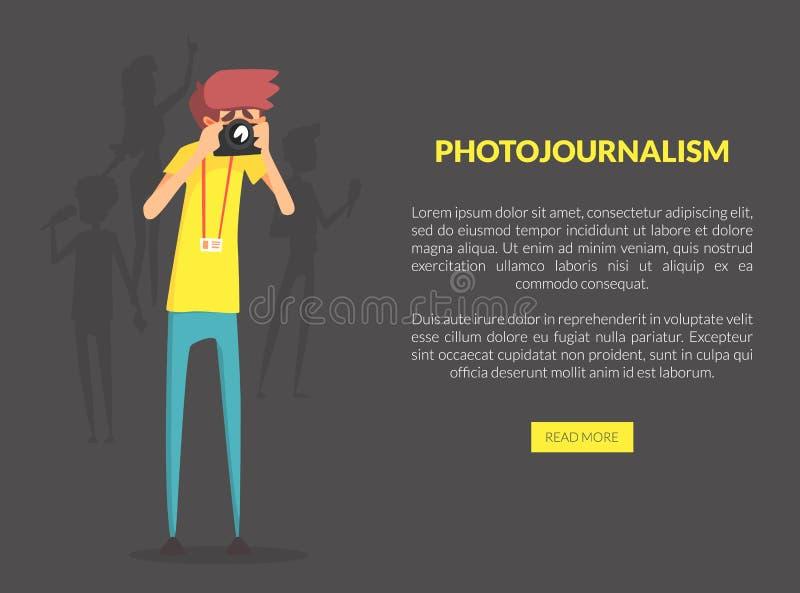 Photojournalism-Landungs-Seiten-Schablone mit Raum für Text, Berufsfotograf Taking Picture mit Foto-Kamera stock abbildung