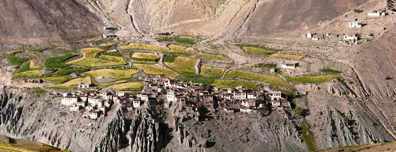 Photoksar村庄- Zanskar艰苦跋涉-印度 免版税库存图片