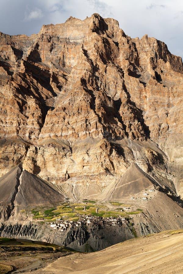 Photoksar村庄- Zanskar艰苦跋涉-拉达克-印度 库存照片