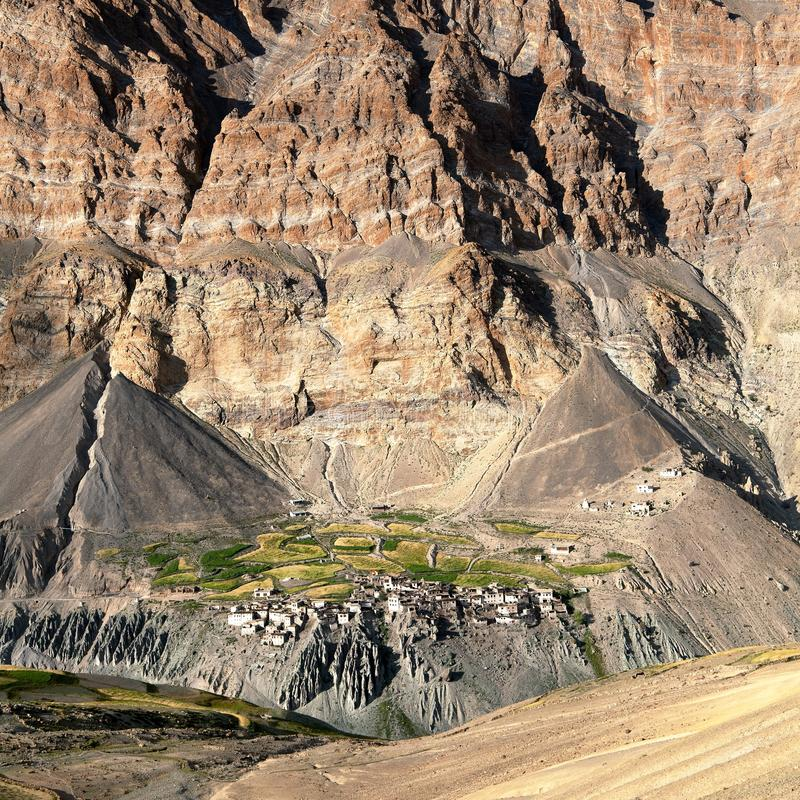 Photoksar村庄- Zanskar艰苦跋涉-拉达克 库存照片