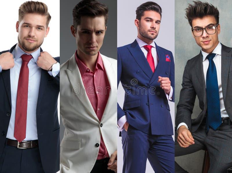 Photomontage av fyra stiliga unga män som bär dräkter royaltyfri foto